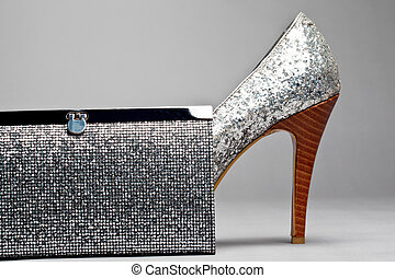 glittering high heel shoe with matching leather purse -...