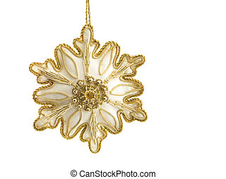 golden christmas bauble against white background - Close-up...