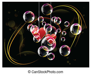 Valentine day two hearts with spotlights and bubble in the...