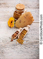 Apiary products - Assortment of apiary products on rustic...