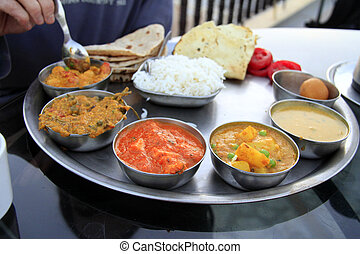 Traditional indian meal - thali - Traditional delicious...