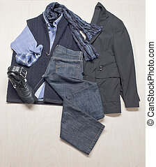 mens attire - Overhead shot of assorted mens attire