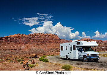 RV canyonlands - white RV campervan in canyonlands USA with...