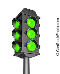 Green signals  - Green signal of a 3d traffic light