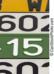 License plates  - European license plates in various colors