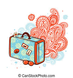 Retro travel suitcase on the ornamental background