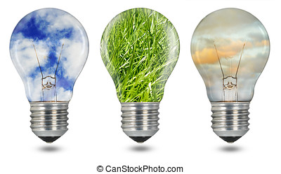Green energy - Three glass tungsten light bulbs with screw...