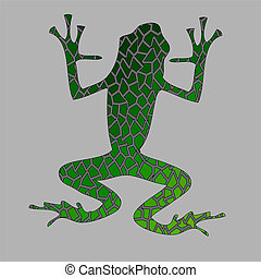 Green frog Vector mosaic paws up Mosaic