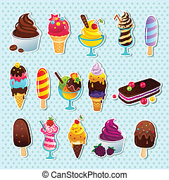 Ice cream icons - Funny Ice cream icons on the polka dot...