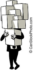 Carrying Boxes - A cartoon businessman carries a tall stack...