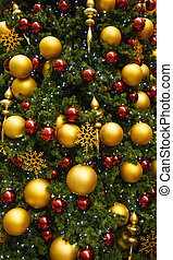 Gold and Red Christmas Ornaments on Green Tree