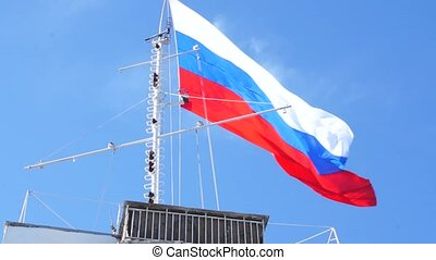 Russian flag, fluttering in the wind