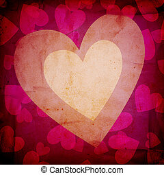 grunge love background with hearts