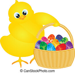 Easter Chick with Basket of Floral Eggs - Yellow Chick...