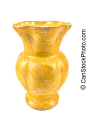Yellow clay flower vase isolated on white