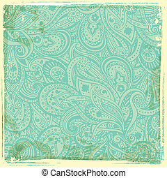 Vintage paisley background - Beautiful blue Vintage paisley...