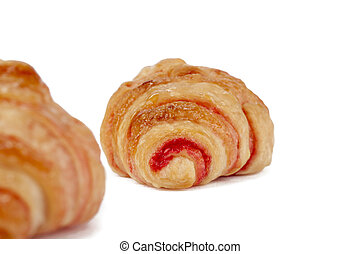 croissant rolls with strawberry jam