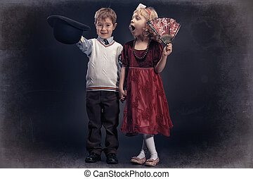 cute kids - Cute little boy gentleman standing with the...
