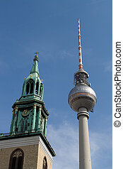 Berlin TV tower and Church