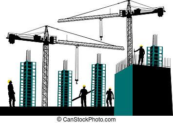 silueta, construção, local