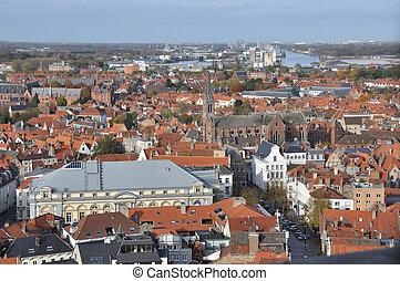 Brugge - birds eye view - Birds eye view of Brugge Belgium,...