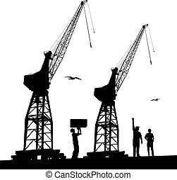 Silhouette of harbour cranes - Silhouette of harbour workers...