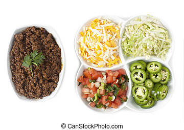 ingredients for taco - Top view shot taco ingredients...