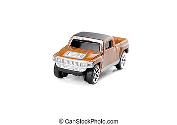 orange pick up truck