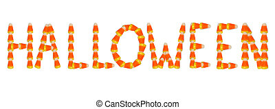 Halloween Text in Candy Corn - Image and illustration...