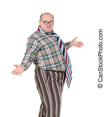 Obese man with an outrageous fashion sense - Fun portrait of...