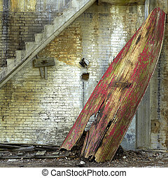 red row boat - A rotten red row boat that is no longer sea...