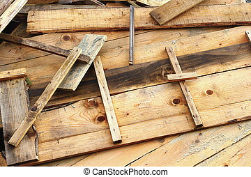 wooden formwork - bunch of wooden formwork left on a...