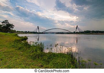 Putrajaya bridge - cloudy at putrajaya bridge