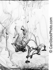 Globules of black ink sinking in water - Ink flowing in...