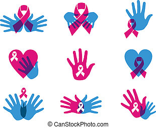 Breast cancer awareness ribbon set