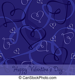 Happy Valentines Day - Hand Drawn heart textured...