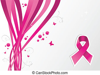 Pink breast cancer ribbon awareness background Vector file...