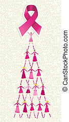 Breast cancer day pine tree - Pyramid of women holding one...