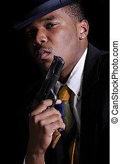 African America Gangster - Male model, Kabari Jackson...