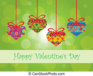 Valentines Day Hanging Hearts Ornaments - Happy Valentines...