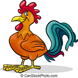 rooster farm animal cartoon illustration - Cartoon...