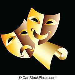 Theatre masks - Vector illustration of theatre masks