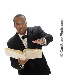 African american preacher reading from the bible