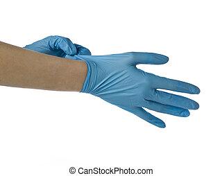 Cirujano, Llevando, médico, guantes