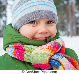 Baby Boy Portrait - Portrait of a little baby boy in winter...