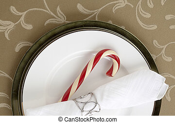 candy cane with table napkin - Image of candy cane with...