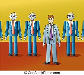 Guy Standing Out - A hip guy in a suit confidently standing...