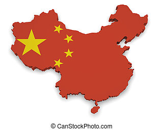 China Map 3d Shape - Shape 3d of China map with flag...