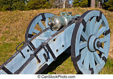 Howitzer at Yorktown Historic Battlefield, Yorktown,...