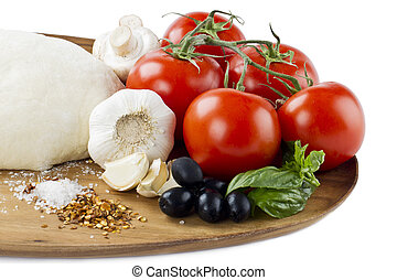 cropped image of pizza ingredient - Close-up cropped shot of...